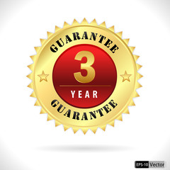 Gold top quality 3 year guarantee badge- vector eps 10