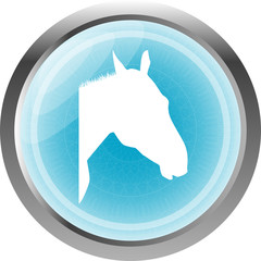 horse sign button, web icon isolated on white