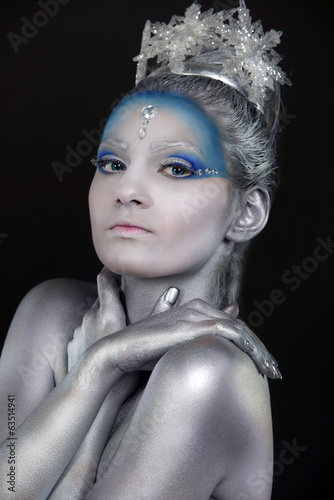 Close up of a woman wearing creative make up  as Ice Queen