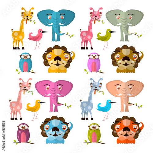 Giraffe Owl Bird Lion and Elephant