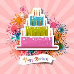 Retro Pink Birthday Background Illustration with Cake