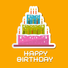 Orange Birthday Background Illustration with Cake