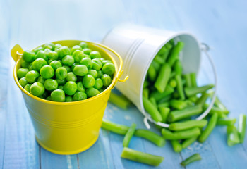 green peas and bean