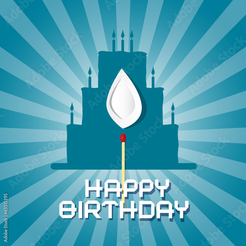 Vector Blue Birthday Background Illustration