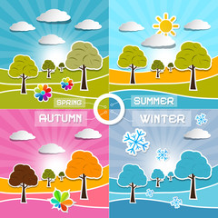 Four Seasons Landscape Backgrounds Vector Illustration