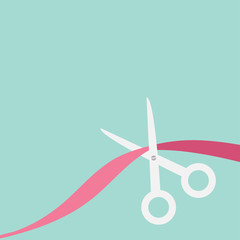 Scissors cut the ribbon. Flat design style.