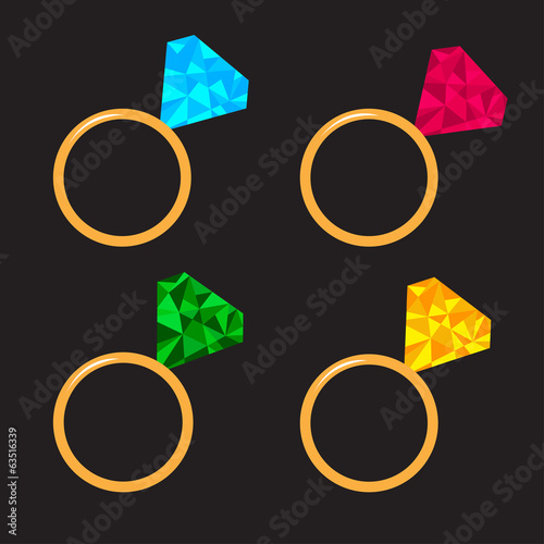 Wedding  gold ring set with diamond. Polygonal effect. Card