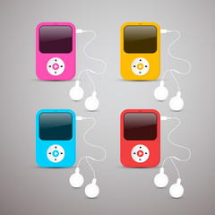 Colorful Vector Mp3 Players Set Illustration with Headphones