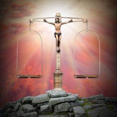 Jesus Christ as a Weight Scale. Divine justice concept.