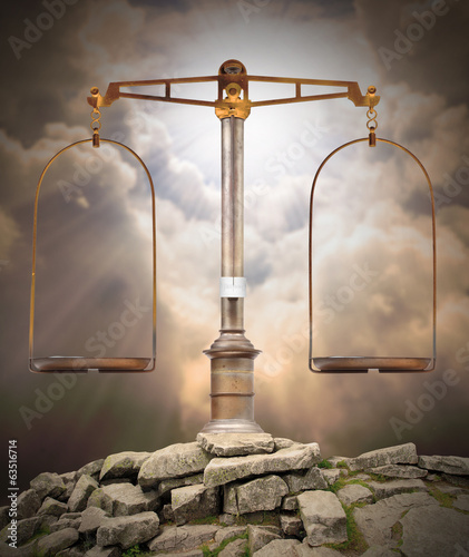Weight scale on the peak. Divine justice concept. - 63516714