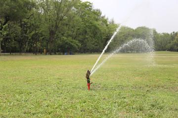 Sprinkler spraying water over green grass