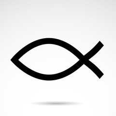 Fish - christian symbol. Vector icon.