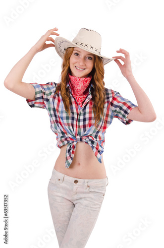 Joyful redhead cowgirl isolated on white