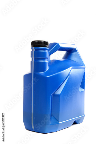 Blue plastic canister on a white background.