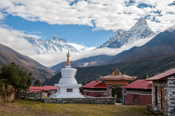 Buddhist stupa with Everest, Lhotse and Ama Dablam in background