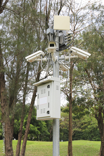 security surveillance cameras near green forest