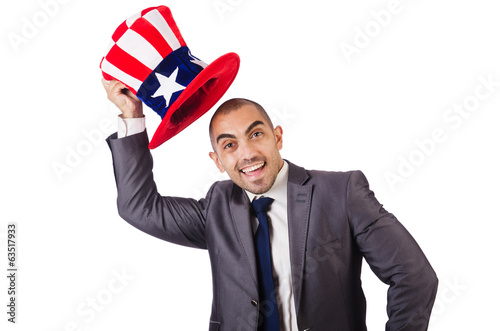 Man with american hat on white