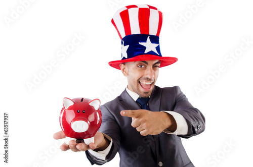 Man with american hat and piggybank
