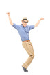 Full length portrait of an excited man dancing