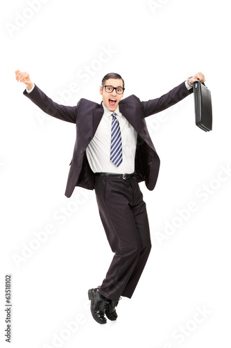 Happy businessman, dancing