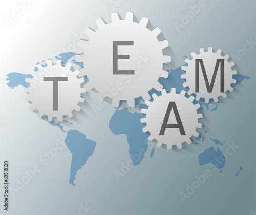 Illustration of world map with gears and team text