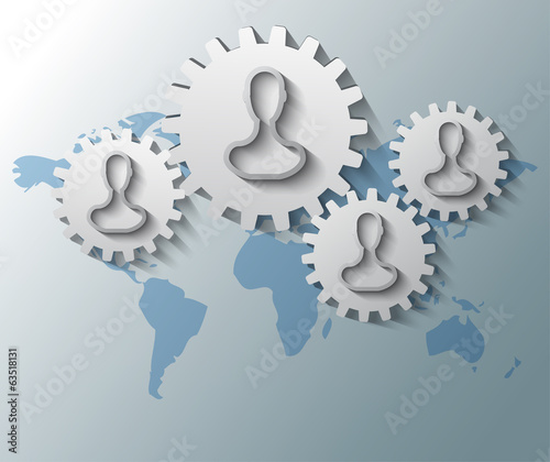Illustration of gears with heads and world map background