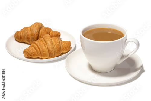coffee with milk and croissants