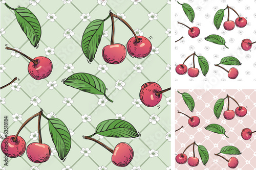 Vector backgrounds with cherry berries at retro style.
