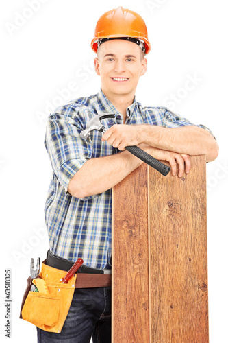 Male construction worker posing