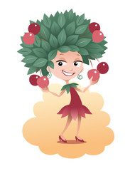 Cartoon girl with a cherry-tree on her head holding berry-fruits