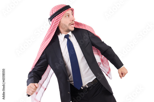 Arab man in trouble isolated on white