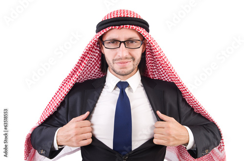 Arab businessman in eyeglasses  isolated on white