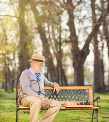 Senior playing chess alone seated on bench in park