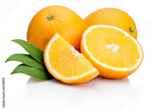 Orange fruit sliced with leaves isolated on white background