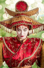 Woman in Chinese princess costume closing her eyes