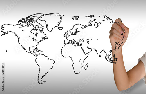 Right hand girl drawing a world map