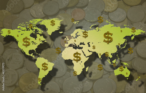 World map with dollar sign and coin background