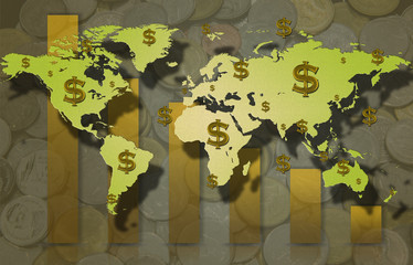 world map floting dollar sing and coin background