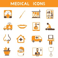 medical icons, orange color icons