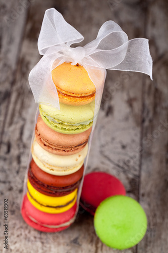 Macaroons on a wooden table
