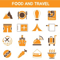 food and travel icons, orange color icons