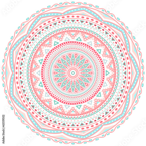 Decorative pink and blue round pattern frame - 63519502