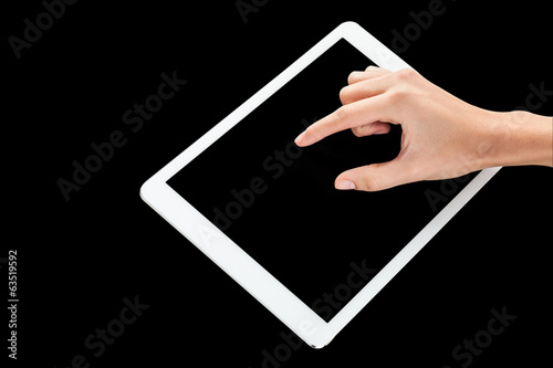 Fingers pointing on tablet pc
