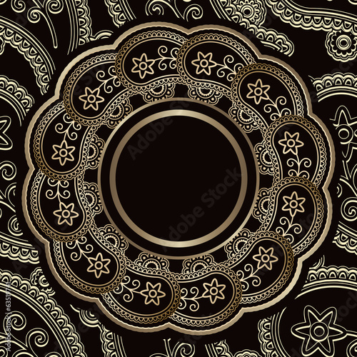 Vintage background, gold round frame over pattern