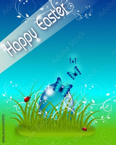 Happy Easter blue card