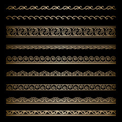 Set of vintage gold wavy borders on black