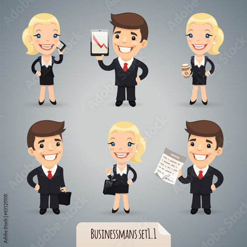 Businessmans Cartoon Characters Set1.1 With Clipping Paths