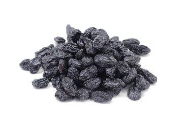 Handful of sweet raisins on a white background