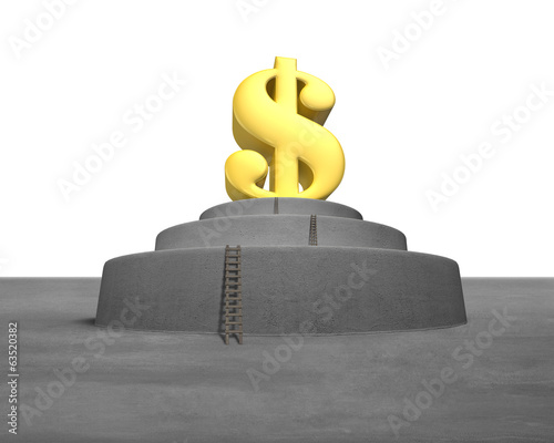 Large money symbol on concrete podium