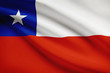 Series of ruffled flags. Republic of Chile.